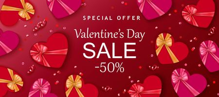 Valentines day sale background with red hearts, gift box, confetti. Romantic design for flyer, card, invitation, poster, banner. Discount, shop promotion template.