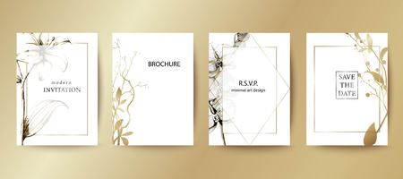 Set of elegant brochure, card, cover. Black and white, golden botanical design. Hand drawn lilies, orchids, leaves.