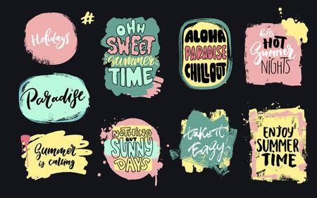 Set of universal hand drawn paint background. Summer quotes. Speech bubble. Illustration