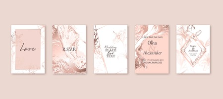 Rose gold marble texture card. Floral, lilies bouquet wedding invitation design. Liquid art background. Vector Illustration