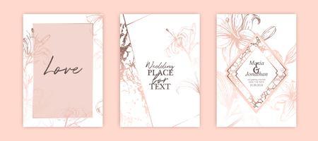 Zestaw eleganckich broszur, kart, okładek. Białe i różowe złoto tekstury marmuru. Sztuka botaniczna. Ręcznie rysowane różowe lilie. Zaproszenie na romantyczny ślub. Ilustracje wektorowe