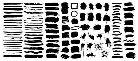 Set of artistic hand drawn grunge backgrounds, textures, lines, brush strokes, splatters. Illustration