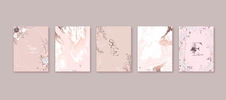 Conception de cadre floral. Fleurs dessinées à la main, roses, feuilles. Composition pour carte, invitation, réservez la date.