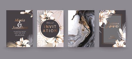 Black, white and gold marble texture card. Floral, lilies decorative bouquet with palm leaves. Ilustrace