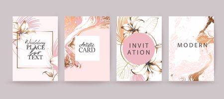 Rose gold marble texture card. Floral, lilies decorative bouquet with palm leaves. Vector Illustration