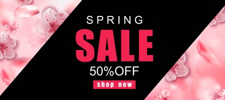 Spring sale background with pink cherry blossoms flowers.