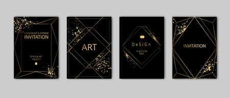 Modern card design. Hand drawn splatters. Gold, black, grey brochure, flyer, invitation template. Business identity style. Geometric shape, artistic frame. Vector. 向量圖像