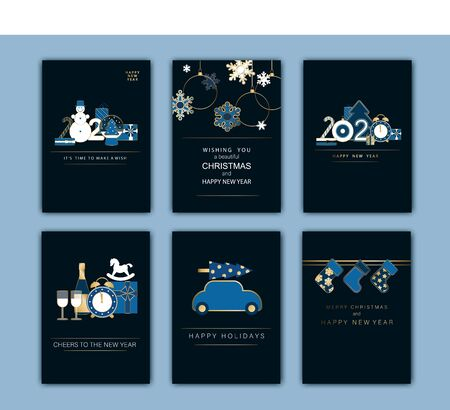 Happy New Year, Merry Christmas card. Winter holiday gold and blue invitation. Style design with Christmas tree and decoration.