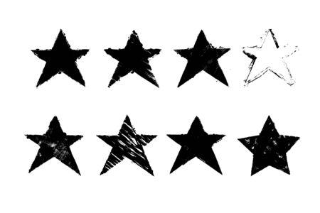 Grunge textured black star. Hand drawn design element.