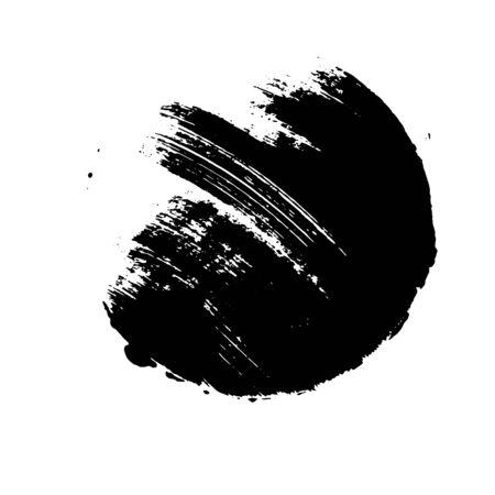 Black grunge circle. Round hand drawn shape.