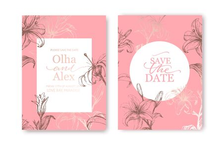 Set of elegant brochure, card, cover. White and rose gold marble texture. Botanical art. Hand drawn pink lilies.