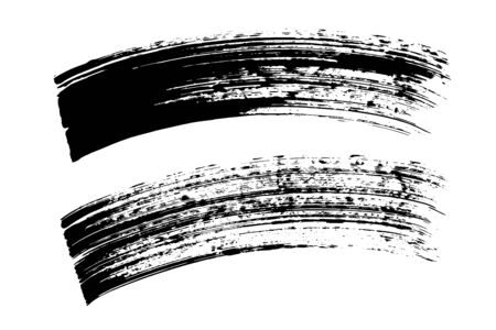 Coups de pinceau grunge, lignes. Éléments de design noirs, formes artistiques, objets d'art. Fond sale Vecteurs