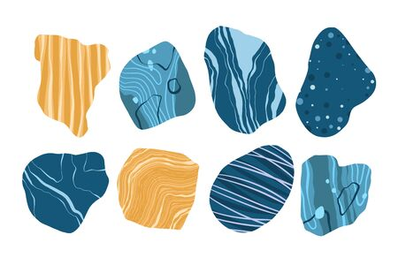 Set of blue and yellow stones. Natural shapes and marbled textures.