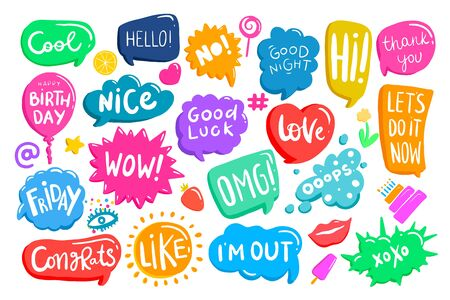 Set of colorful speech bubbles with phrases. Creative shapes, boxes with place for text. Chat, message, stories backgrounds, design elements. Stok Fotoğraf - 147579019