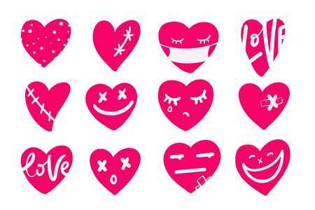 Set of cool hand drawn hearts. Romantic design elements for Valentines day card, message, app. Çizim