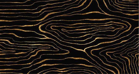 Golden glitter and black abstract marble stone, wood design, natural texture, waves, curls. Luxury ink, liquid stains, abstract landscape.