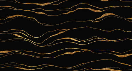 Golden glitter and black abstract marble stone, wood design, natural texture, waves, curls. Luxury ink, liquid stains, abstract landscape. Vecteurs