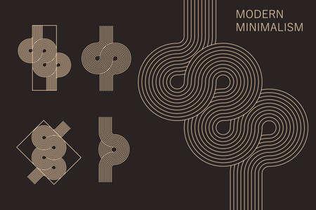 Set of line art design elements. Knot, arch, wave. Vecteurs