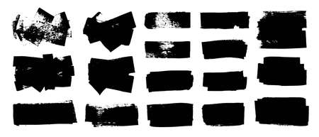 Set of black paint, ink, grunge, dirty brush strokes, dirty boxes. Hand painted frame, background. Place for text. Texture overlay.