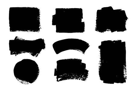 Set of black paint, ink, grunge, dirty brush strokes, dirty boxes. Hand painted frame, background. Place for text. Texture overlay. Vektoros illusztráció
