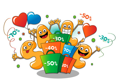 personages: Funny characters of sale: holiday sale on white background Illustration