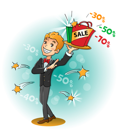 promotional offer: Men with sale: attractive offer Illustration