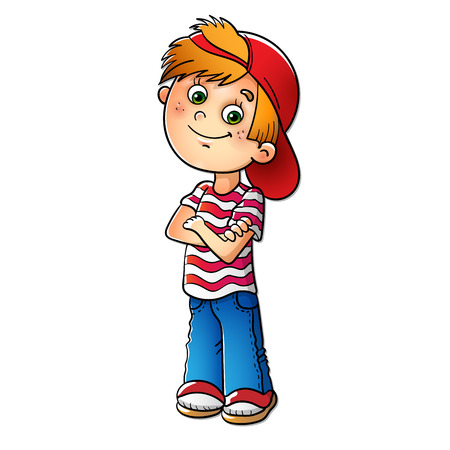 Boy in a red cap and striped t-shirt isolated on white