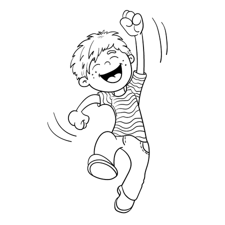 Coloring Page Outline Of A Cartoon  Jumping Boy Illustration