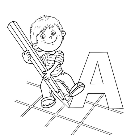 black boys: Coloring Page Outline Of a Cartoon Boy drawing a large letter in pencil Illustration