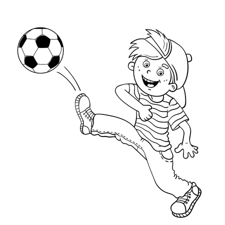 patada: Esquema Página para colorear de un muchacho de dibujos animados patear un balón de fútbol