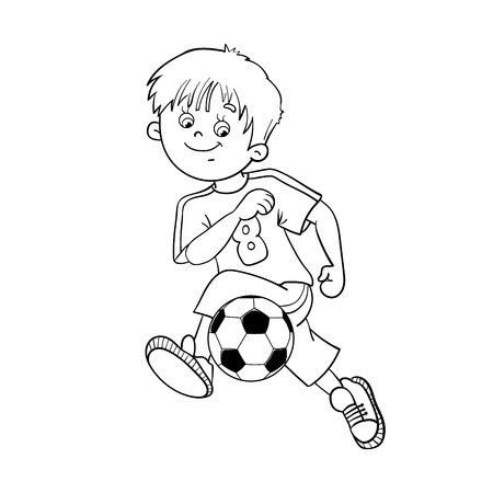 coloring sheets: Coloring Page Outline Of A Soccer Boy