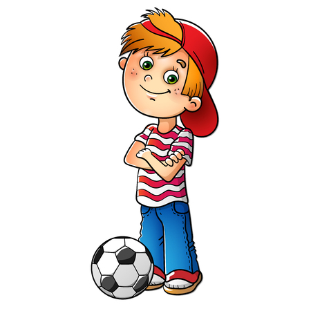 Boy in a red cap and striped t-shirt  with a soccer ball isolated on white