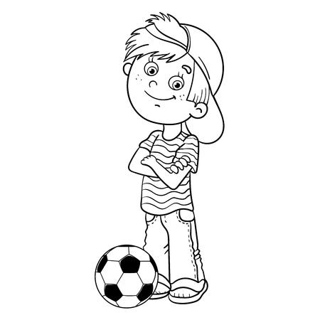 Esquema Página Para Colorear De Un Muchacho De Dibujos Animados ...