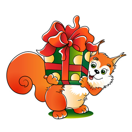red squirrel: Red squirrel with a great gift isolated on white background Illustration