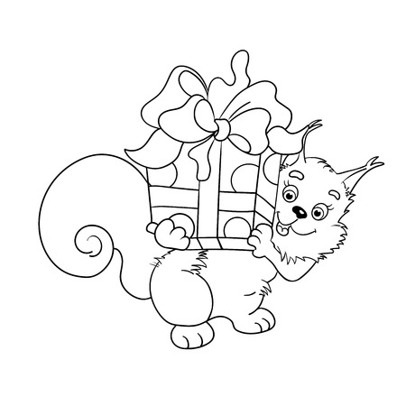 red squirrel: Coloring page outline of  red squirrel with a big gift