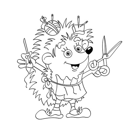 darn: Coloring Page Outline Of Little tailor hedgehog with a needle and a thread