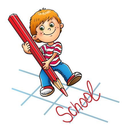 red pencil: Young boy drawing the word in red pencil isolated on white background Illustration