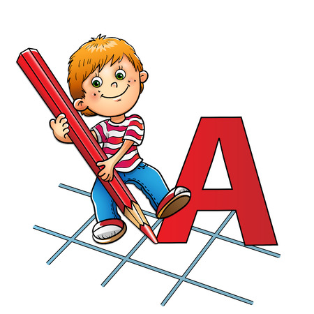 kids holding hands: Young boy drawing a large letter in red pencil isolated on white background Illustration