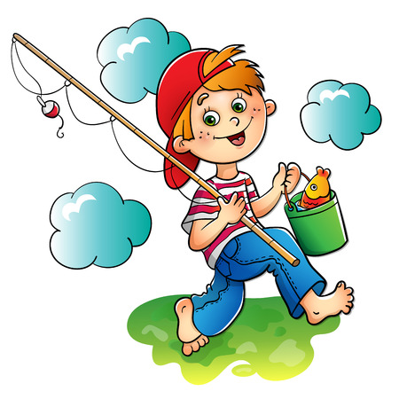 Happy boy fisherman with a fishing rod and catch isolated on white background Illustration