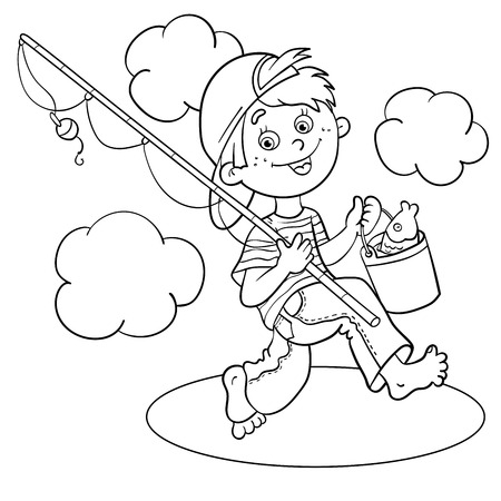 black baby boy: Coloring Page Outline Of A Cartoon Boy  fisherman with a fishing rod and catch Illustration