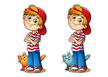 Boy in a red cap and striped t-shirt with his cat on white 矢量图像
