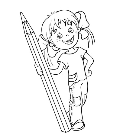Coloring Page Outline Of A Cartoon Girl With Pencil Vector