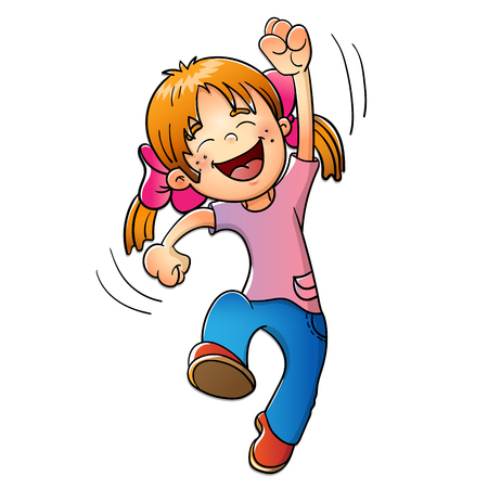 jumping: Chica joven saltando aislados sobre fondo blanco Vectores