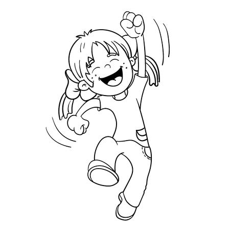 Kleurplaat Overzicht van een Cartoon Springend Meisje Stock Illustratie