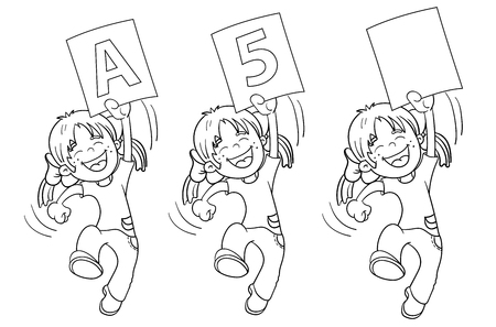 highest: Coloring Page Outline Of A Cartoon Jumping Girl with highest rating