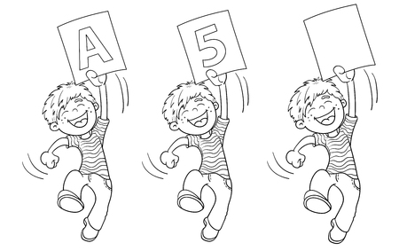 highest: Coloring Page Outline Of A Cartoon Jumping boy with highest rating. Illustration
