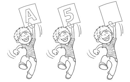 Página Para Colorear Esquema De Un Niño De Dibujos Animados De Salto ...