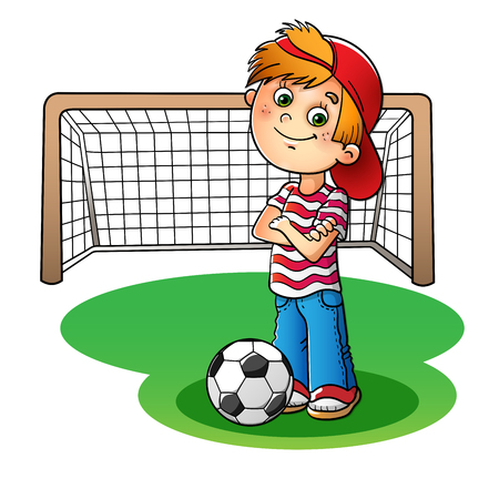 Boy in a red cap and striped t-shirt  with a soccer ball and  football goal isolated on white