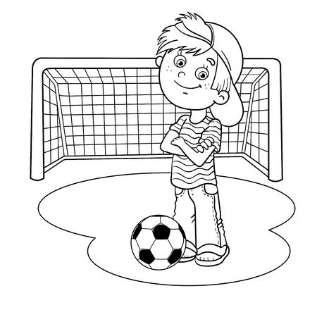 Kleurplaten omlijning van een jongen van het beeldverhaal met een voetbal en voetbal doel Vector Illustratie