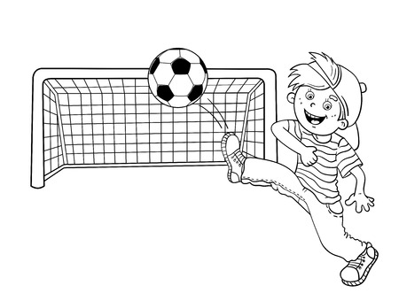 black boys: Coloring Page Outline Of A Cartoon Boy kicking a soccer ball Illustration